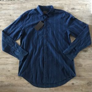ZARA MAN | STRIPED BUTTON DOWN BLUE DRESS SHIRT